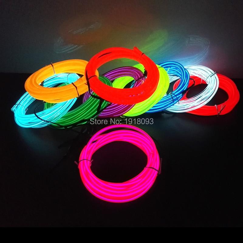 Disponible en 10 colores, 5M, 5,0mm, 5V, cable Flexible alimentado por USB, tira de luces LED brillantes, luz de neón para decoración de casa y jardín