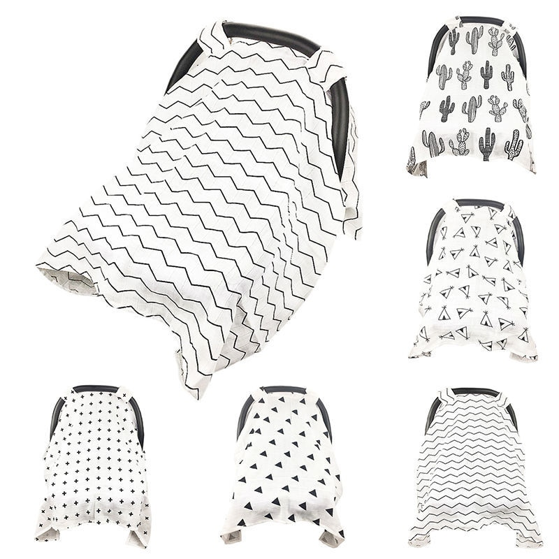 Baby Stroller Cover Muslin Stroller Nursing Canopy Breastfeeding Sun Shade Craddle Blanket Trolley Covers Mosquito Net For Baby