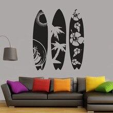 Planche de surf sticker mural décoration de chambre amovible vinyle autocollants pour salon surf amateurs chambre art mural G958