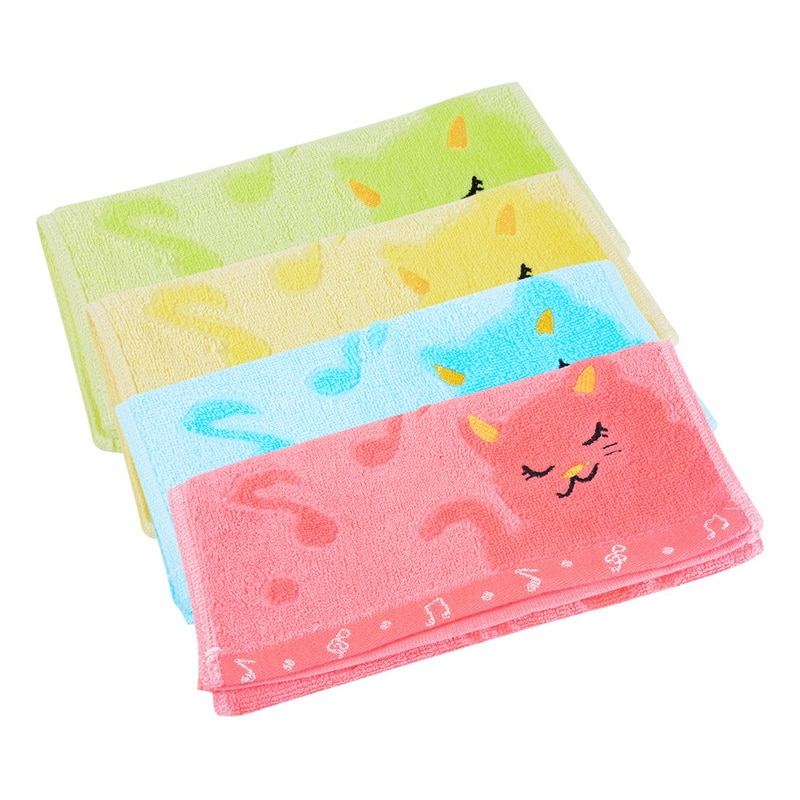 25x5 0/70x140cm bordado jacquard gato pequeña fibra suave Toalla de dibujos animados niños Toalla de baño en casa Mini cuadrado cara mano niños toallas