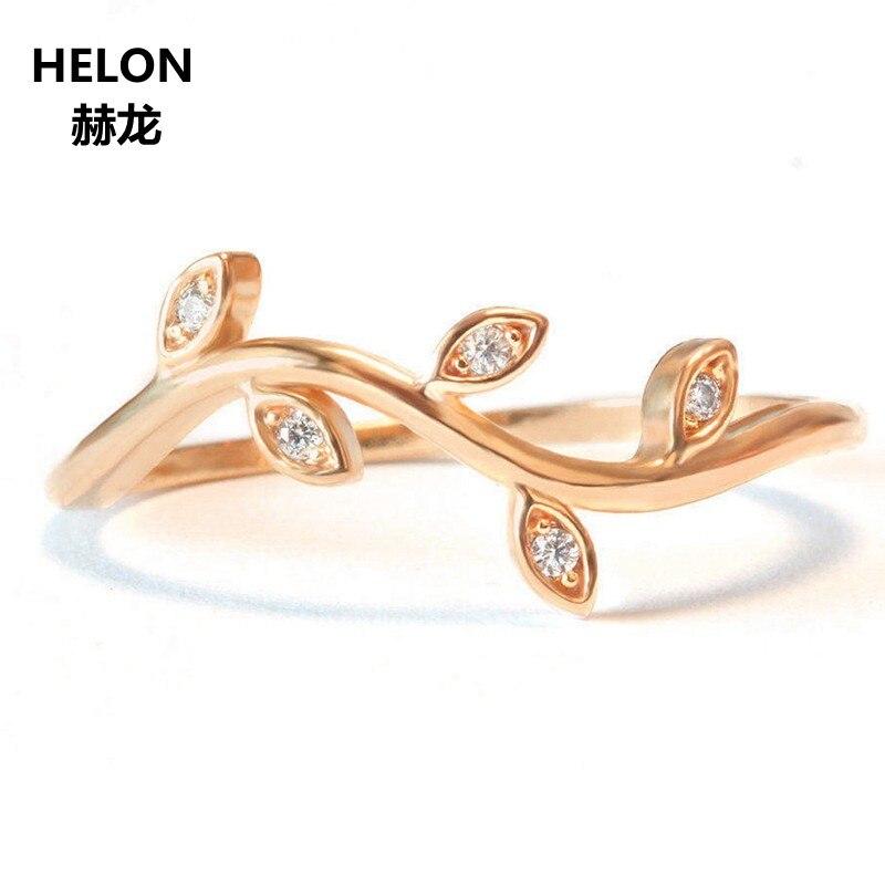 Mini Rama de hoja boda banda Art Nouveau anillo sólido 14 K oro rosa pavé diamante compromiso mujeres anillo apilable boda