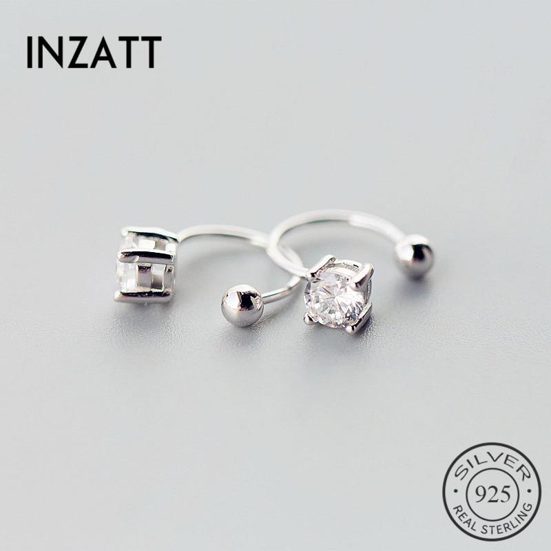 INZATT Cute High Quality 925 Sterling Silver Zircon Clip Earrings Round Bead Bright Crystal Fine Jewelry Bijoux AccessoriesGift