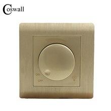 Freies Verschiffen COSWALL Luxus Wand Licht Schalter Dimmer Controller Champagner Gold AC 110 ~ 250 V C31 serie