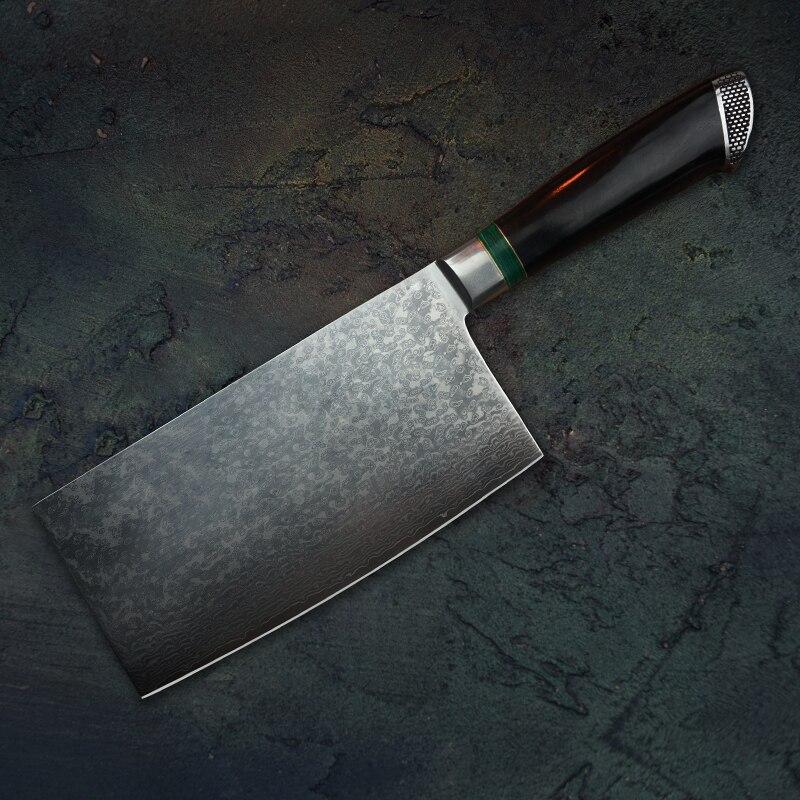 """Fzizuo 7 """"vg10 aço damasco chinês cutelo ébano lidar com faca do chef faca de corte cozinha facas cozinhar ferramentas"""