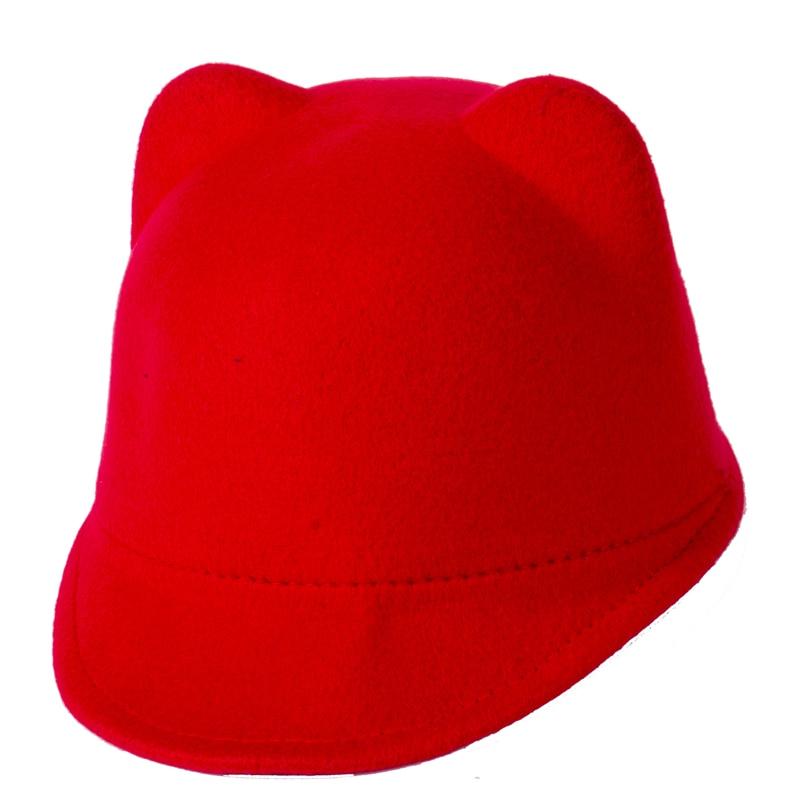 Moda 2017 sombrero de béisbol de lana para niños niña y niño Snapback con cuernos de diablo bonito sombrero oreja de gato animal Derby Bowler encantadora gorra