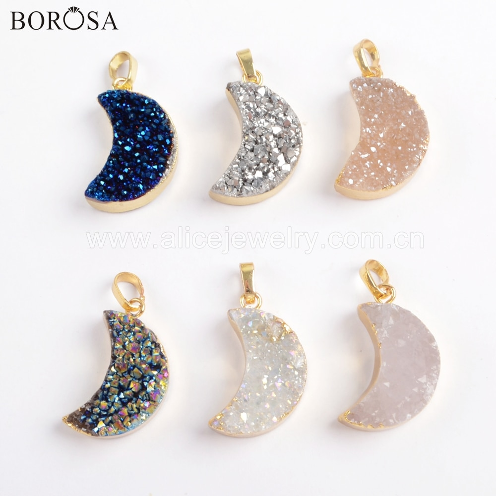 BOROSA 5 uds media luna Color oro ágatas naturales de titanio Druzy de arco iris colgante Luna Drusy colgante de joyería para el collar G1721