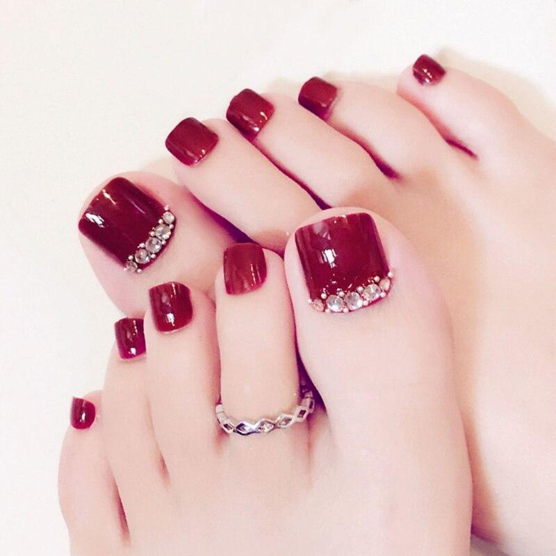 Pegatinas para manicura de uñas artísticas, 24 Uds. De Diamantes Rojos sexis, cobertura completa de Punta falsa