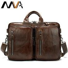 MVA sac de messager hommes véritable mallette en cuir sac de messager hommes sac à bandoulière grande capacité Vintage ordinateur sacs pour ordinateur portable 432