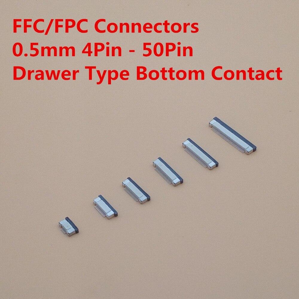 10 Uds conector FPC hembra contacto 0,5mm 4Pin 6 8 10 12 14 16 18 20 22 24 26 30 32pin 40pin 50pin