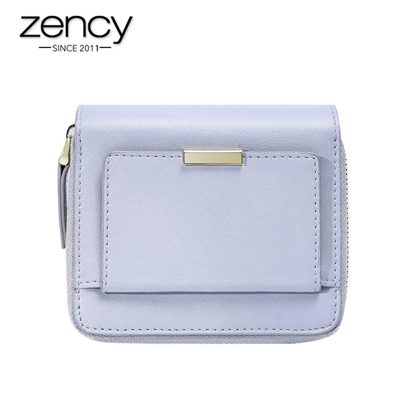 Женский кошелек Zency, из 100% натуральной кожи, легкий, короткий, простой, с отделением для монет, держатель для карт, черный, розовый