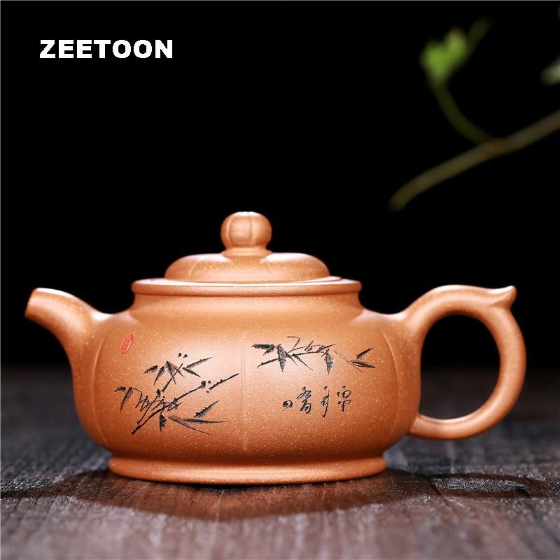 240cc bambu aleta pote autêntico yixing bule china saúde argila roxa conjunto de chá bule chá chaleira bule chá fabricante zisha decoração da sua casa