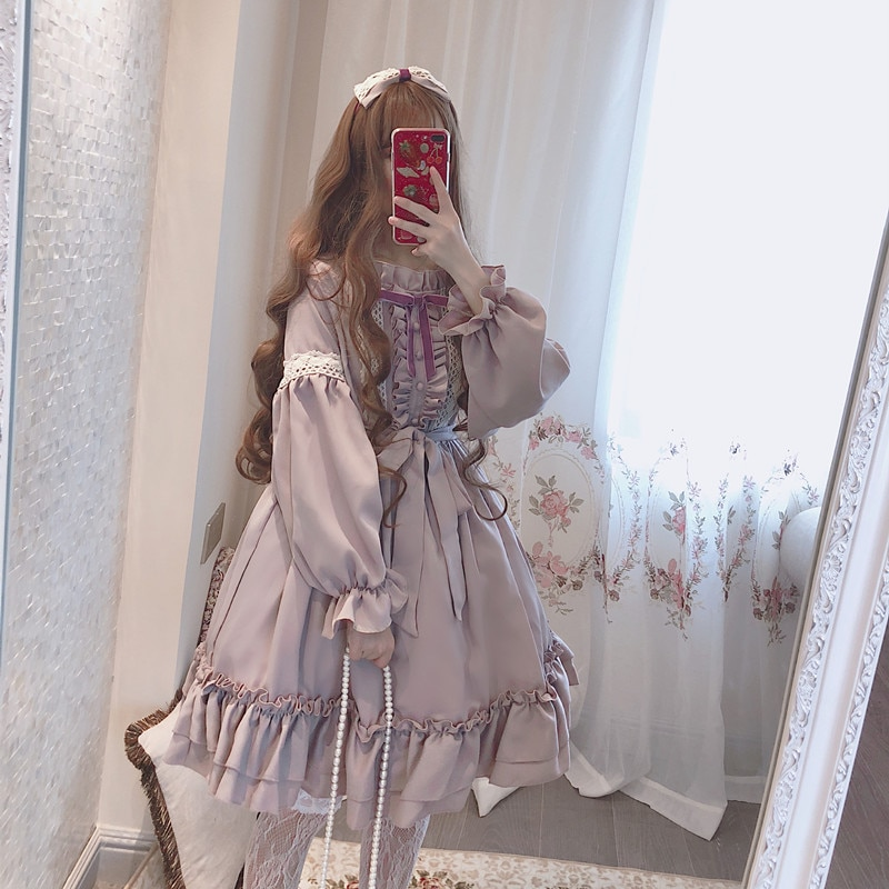 Vestido lolita japonés vintage con soporte de encaje bowknot falbala kawaii Vestido de manga farol victoriano vestido gótico lolita op loli cos