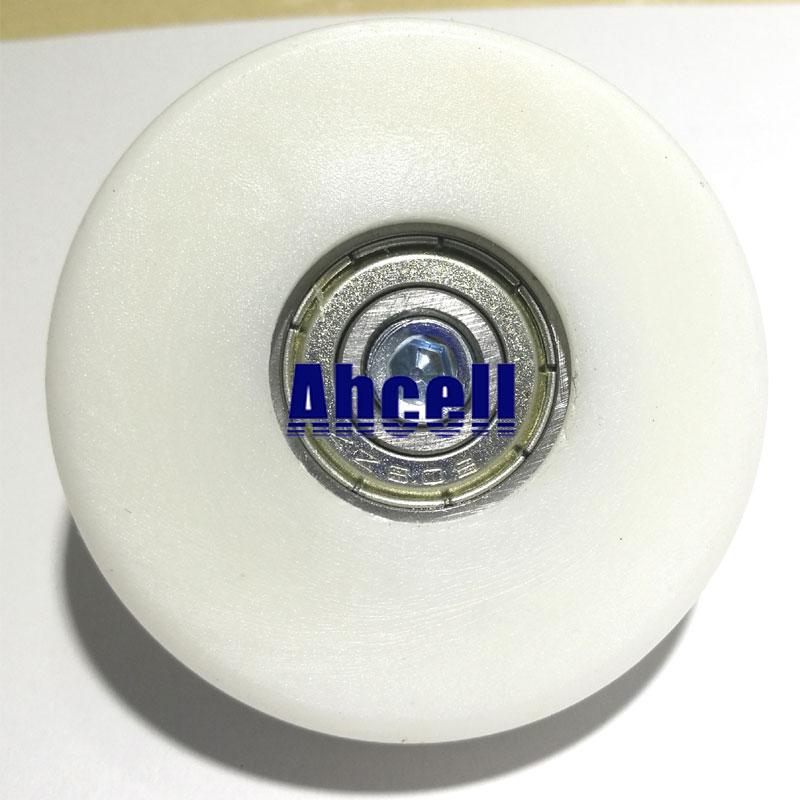 2 pces ahcell 50mm plástico rolamento de esferas polia móveis transportador garagem porta parafuso prisioneiro haste parafuso guia final rolamento roda de rolo
