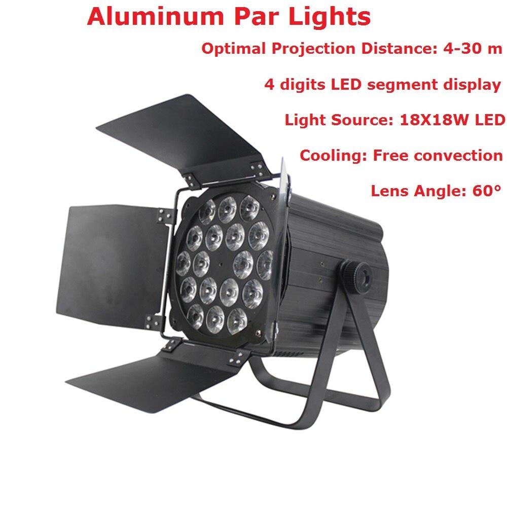 Par de aluminio 18X18W RGBWAP 6IN1 LED luces de escenario plana Par luces DMX512 Control para Disco Dj proyector carnaval de fiesta Decoración