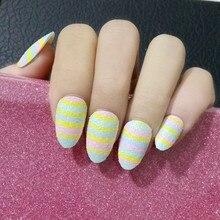 Beaux faux ongles conseils colorés arc-en-ciel faux ongles ongles avec paillettes manucure ongles produits 24 pièces Z074