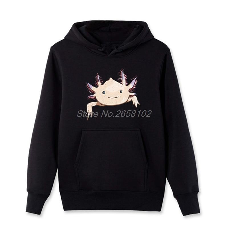 Axolotl Amigo Engraçado Dos Desenhos Animados Animal Print Dos Homens Hoodies Algodão Camisola Ocasional Streetwear Hip Hop Tops Casacos