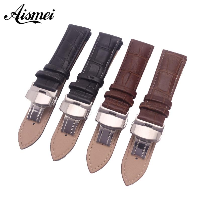 12mm 14mm 16mm 18mm 19mm 20mm 21mm 22mm 24mm Watchband Genuine Leather Strap push buttom clasp Alligator Grain Watch Bands