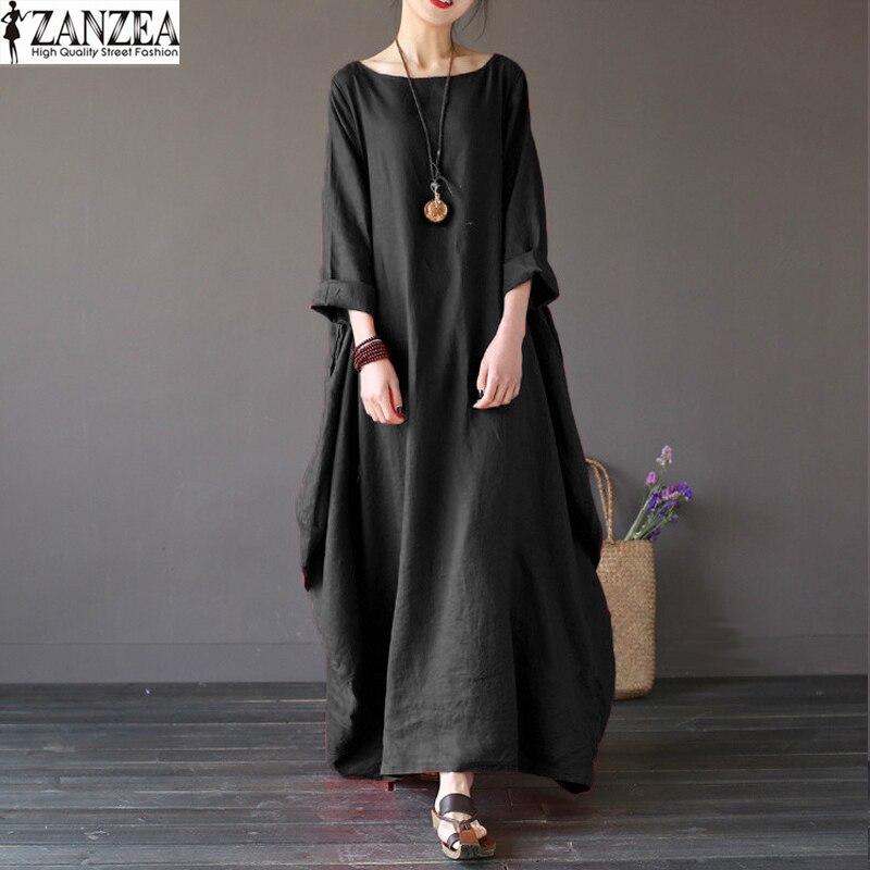ZANZEA Oversize mujeres Retro 3/4 manga pantalones Maxi Vestido largo Casual fiesta Vestido camisa túnica Vestido de Vestido