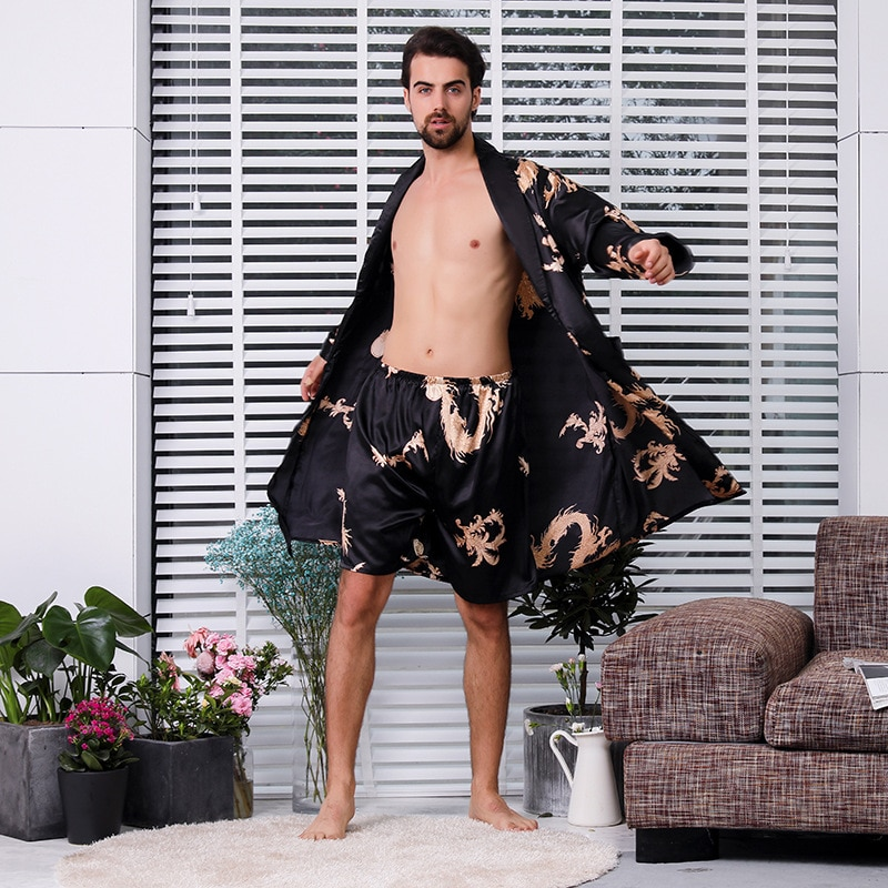 Black Two-piece Robe Suit Male Silk Dragon Dressing Gown Extra large 5XL Robe With Dragons Mens Satin Bathrobe Silk Kimono Men