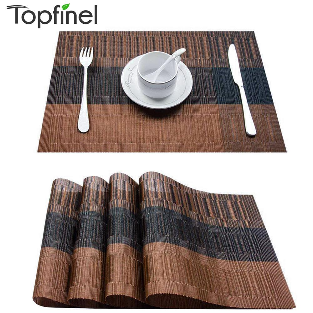 Topfinel conjunto de 4 placemats plástico de bambu pvc para mesa de jantar corredor roupa lugar esteira na cozinha acessórios copo vinho esteira