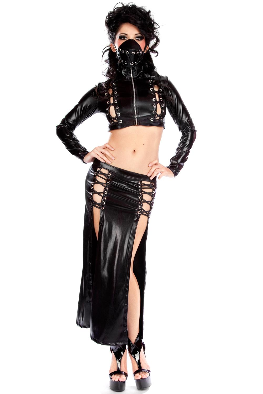 Sexy Club Dress Wet Look Dresses Black Zipper Long Sleeve Top With Long Split Dress 2 Pcs Set Ladies Night Vinyl Party Clubwear