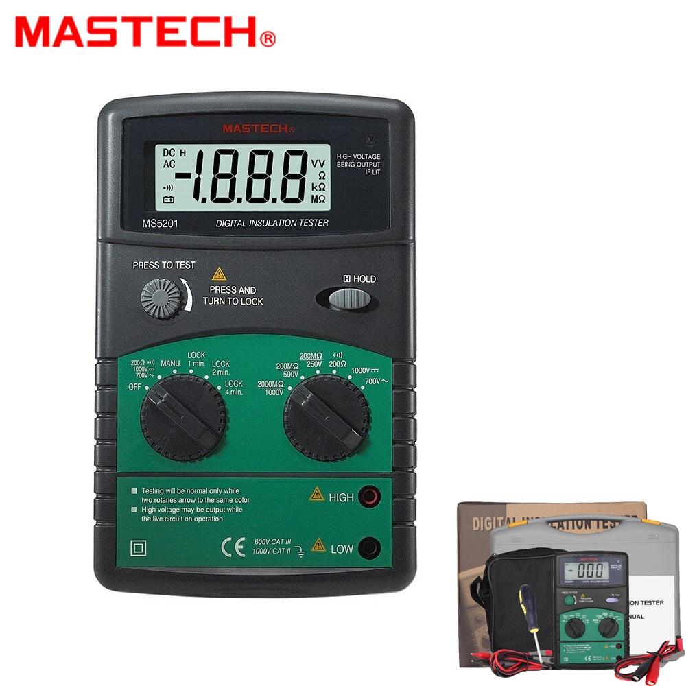 MASTECH-جهاز اختبار مقاومة العزل الرقمي MS5201 ، مكبر الصوت والفلاش مع إنذار ، كاشف جهد التيار المتردد/التيار المستمر