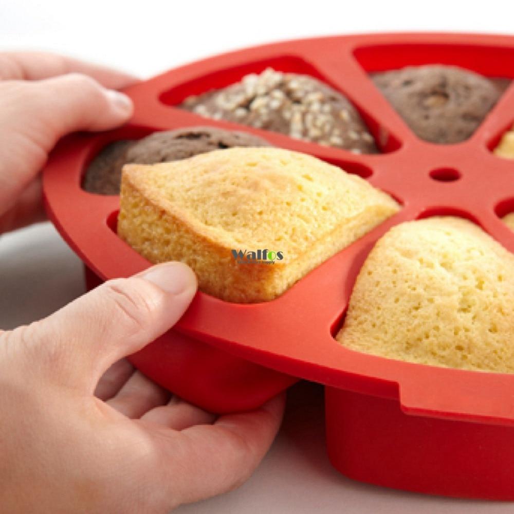 WALFOS, herramientas de silicona de grado alimenticio para pasteles, molde para horno microondas con 8 rejillas, molde redondo para pasteles, utensilios de cocina DIY, accesorios de cocina