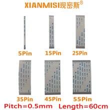 FFC/FPC Plat Flex Câble 5Pin Broches 25Pin 35Pin 45Pin 55Pin Même côté 0.5mm Pitch AWM VW-1 20624 20798 80C 60 V Longueur 60 cm 5 PCS