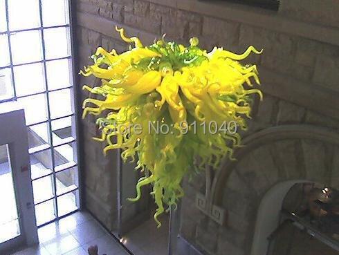 Вилла класса люкс, лимонно-желтый, Стекло люстра освещение с светодиодный огни на длинной цепочке люстры