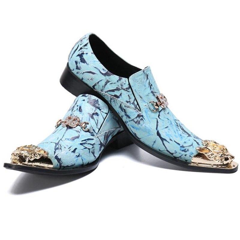 حذاء رجالي من الجلد الطبيعي ، حذاء عشاء سهل الارتداء ، مع نقش التنين ، لون أزرق فاتح
