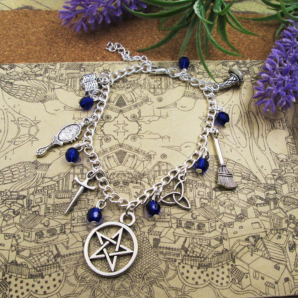 Silber Überzogene Charme Armband Karneol Mondstein Lapis Hexe Wicca Charm Armband, Silber Braceletl anhänger armbänder