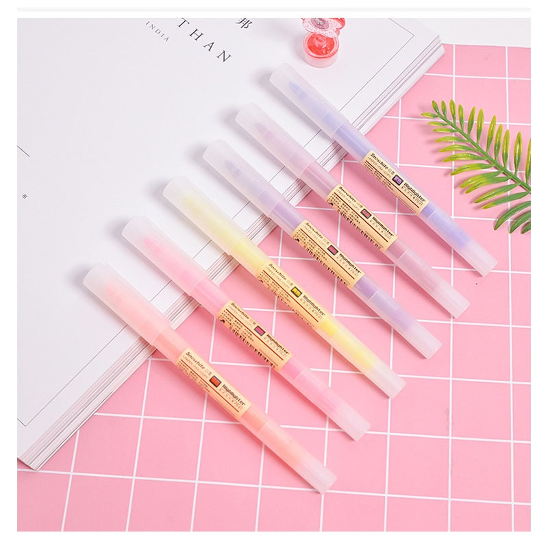 6 unids/set japonés papelería muji estilo suave Liner doble cabeza Milkliner rotulador fluorescente marcador para pintura o nota pluma