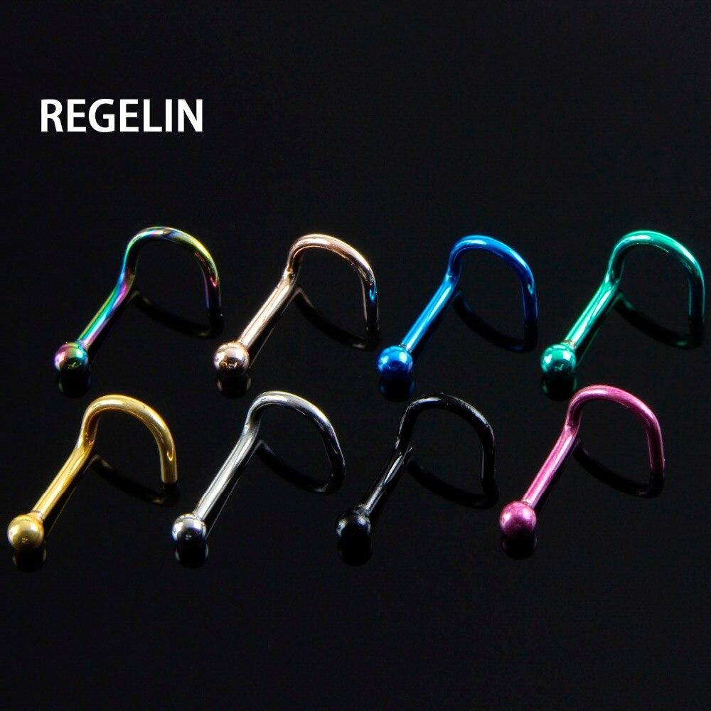REGELIN 10 unids/lote, piercings de titanio para mujer, aros para la Nariz, Piercing para la oreja, el labio, el ombligo, Piercing para el cuerpo, joyas falsas