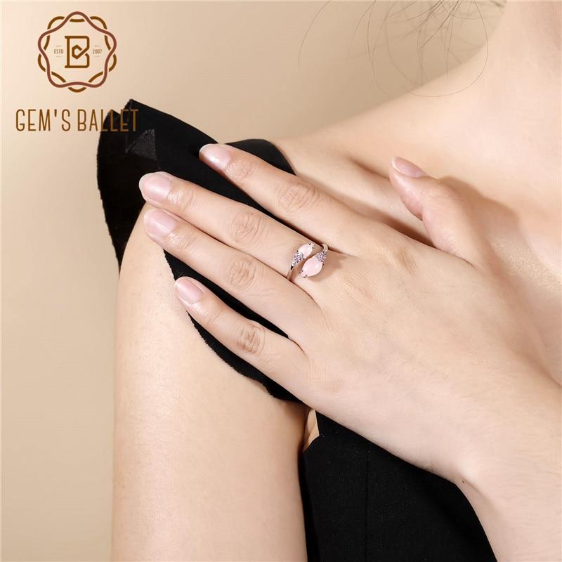 925 prata esterlina anéis abertos para presentes de aniversário da namorada do sexo feminino anel de cocktail natural bonito rosa calcedony