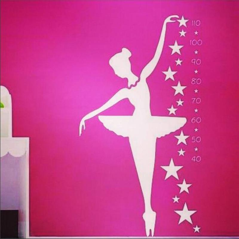 Bailarina pared calcomanía-bailarina danza Ballet calcomanías para medir estatura para niños habitación decoración del hogar calcomanías hermosa etiqueta adhesiva de pared Post D001