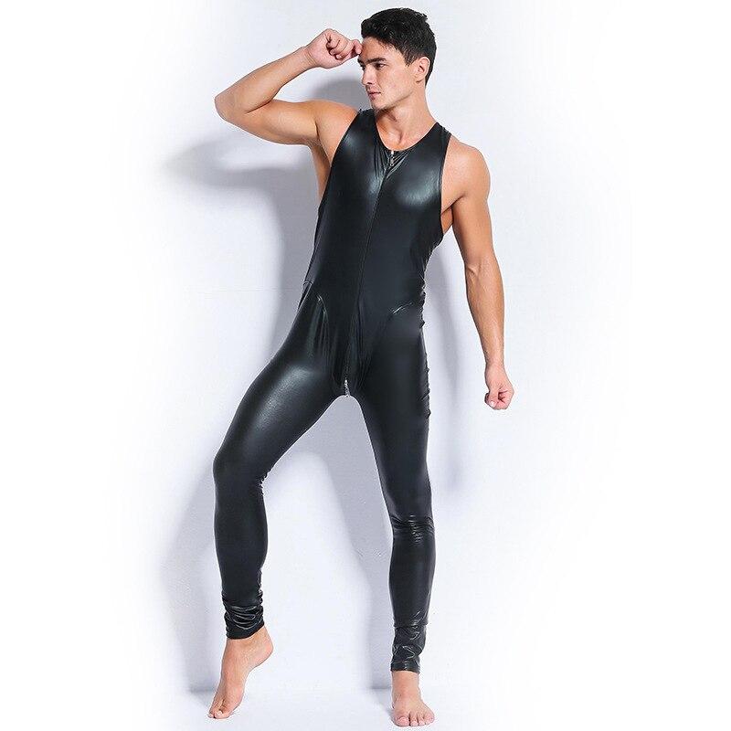 Rot Schwarz Leder Overall Männer Dünne Stretch PVC Zip Ärmelloses Öffnen Gabelung Bodysuit Homosexuell Sexy Bodycon Clubwear Vinyl Catsuit