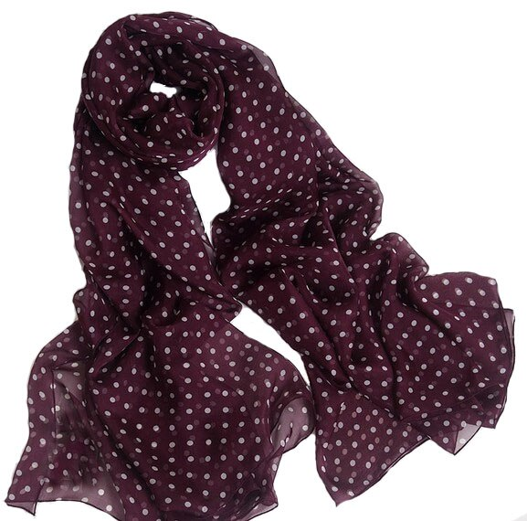 Lenço das mulheres seda 2016 100% natural seda vinho vermelho polka dot scarfs marca de luxo xale designer feminino foulard cobertor hijab
