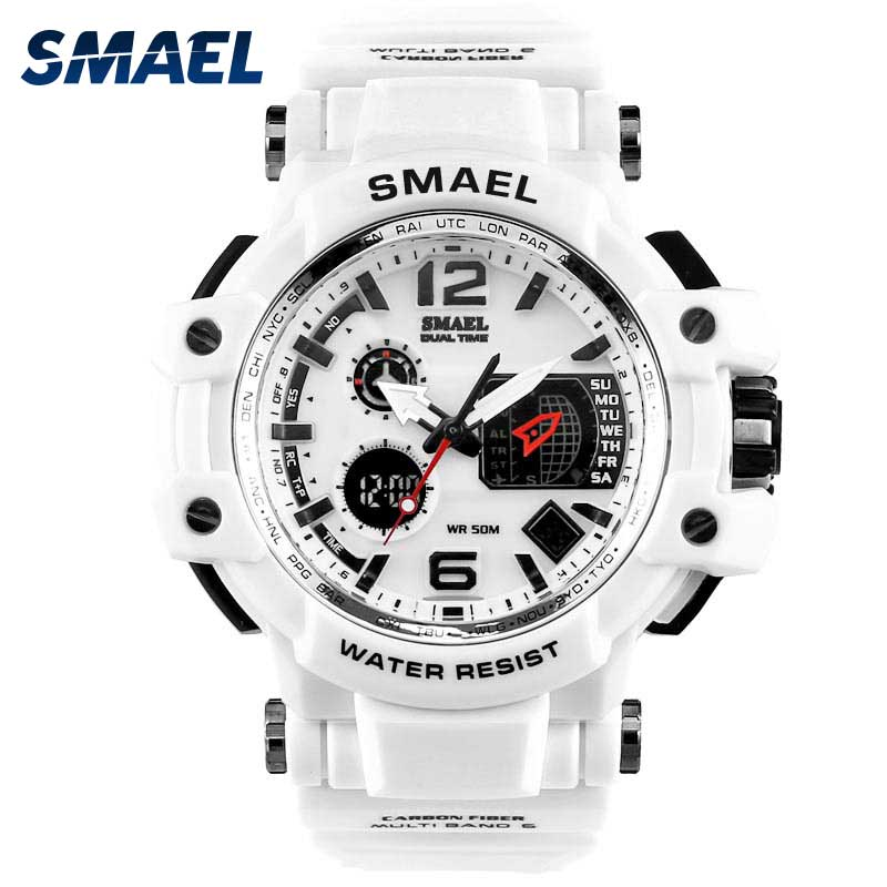 Relojes deportivos blancos SMAEL, reloj LED digital para hombres resistente al agua 50m, reloj masculino informal S shock, reloj masculino, reloj para hombres
