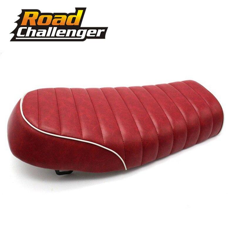 Motocicleta rojo Cafe Racer asiento Scrambler Vintage plana silla sartén plana Retro asiento resistente al agua para Honda CB125S CB200