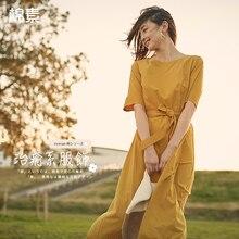INMAN una línea media manga mujer Mediados de pantorrilla vestido verano elegante señoras Vestido Mujer chica Causal vestido largo