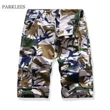 Pantalones Cortos Cargo de Hombre de verano de algodón con camuflaje ligeros Pantalones Cortos de Hombre Multi bolsillo cómodo Camo Pantalones Cortos Hombre