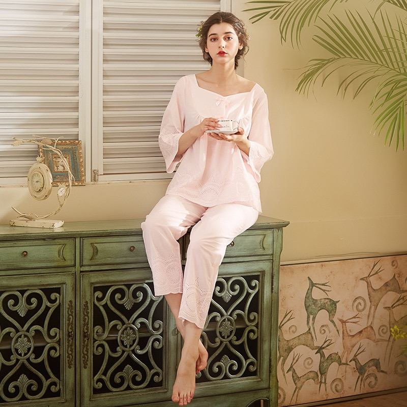 بيجاما قطنية نبيلة للنساء ، ملابس نوم أنيقة ، عتيقة ، أكمام طويلة ، بيضاء ، ملابس منزلية