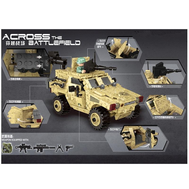 451 stücke Armee Serie VBL Rädern Gepanzerten Fahrzeug Bausteine Spielzeug Kit Ziegel DIY Pädagogisches Kinder Geburtstag Geschenke