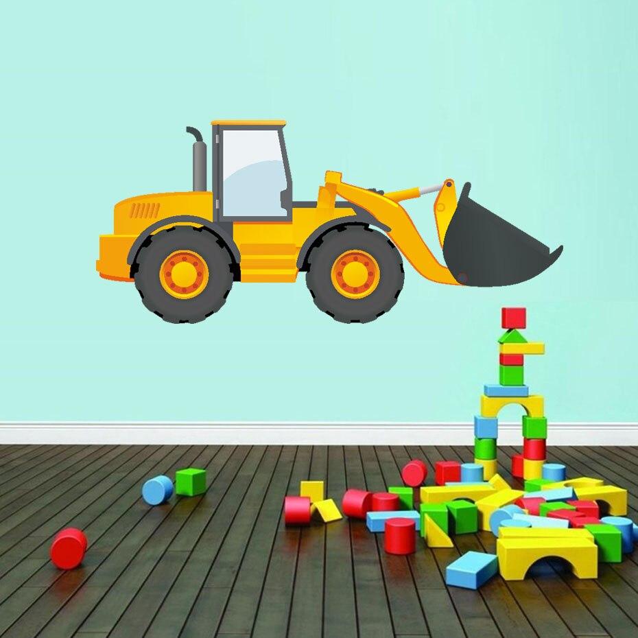 Pegatinas de pared de tráfico de camiones de dibujos animados pegatinas para habitación de niños puerta DIY impermeable papel pintado artístico decoración del hogar vinilo