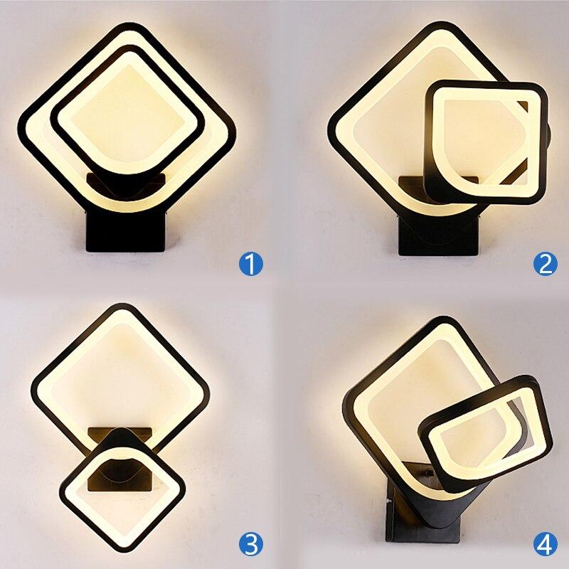 Вращающаяся 27 Вт Светодиодная настенная лампа, Современная гостиная, Проходная лестница, квадратные светильники, прикроватная тумбочка для спальни, 3 цвета, изменяемый настенный светильник