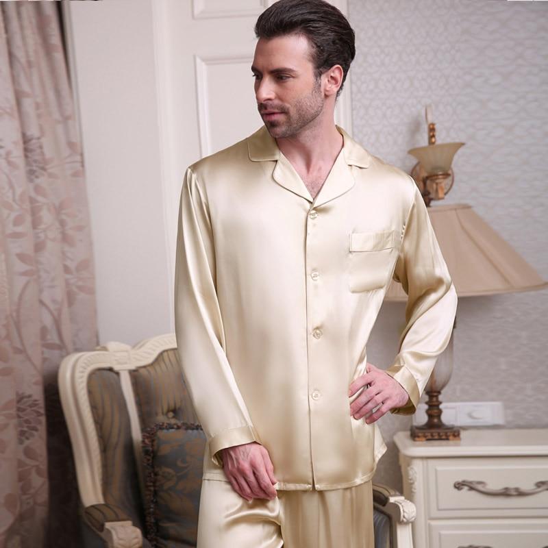 Натуральный шелк пижама мужской весна лето с длинным рукавом брюки из двух частей пижама комплекты 100% 25 шелкопряд шелк мужчины% 27 одежда для сна T9002