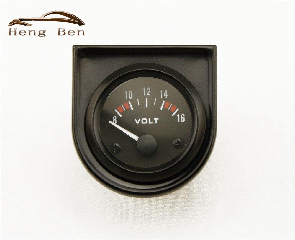"HB 2 ""52mm Universal coche negro puntero analógico voltaje medidor de voltios calibre 8-16V luz LED blanca"