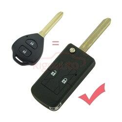 Para toyota corolla reequipamento flip remoto chave do escudo 2 botão toy43 lâmina sem corte modificado carro chave fob caso kigoauto