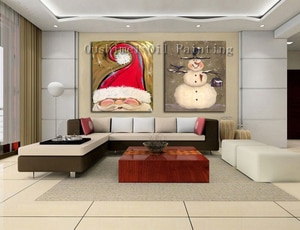Newest Handmade Modern Abstract Santa Claus Oil Painting For Christmas Decor Hand-Painted Cartoon Snowman Canvas Painting