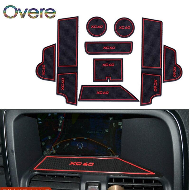 OVERE 1 ensemble voiture intérieur tasse tapis porte porte fente Pad boîte de rangement tapis autocollants pour Volvo XC90 XC60 2018 2015-2017 accessoires